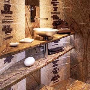 Salle de bain moderne en mosaique, salle de bain de luxe