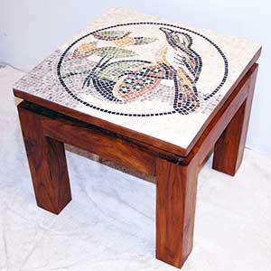 Mobilier décoratif mosaique: création plateau de table, console