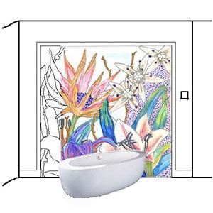 mosaique figurative pour salle de bain moderne et douche
