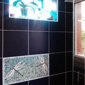 décor mosaique pour douche en pate de verre irisée