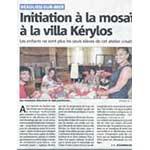 article sur l'atelier mosaique à la Villa Kerylos par Nice matin du 28 juillet 2014